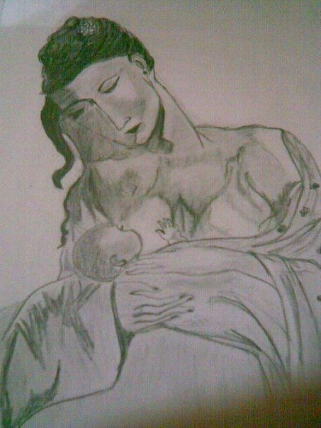 Mother and Child [pencil work,Refered]